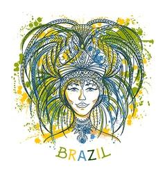 Brazilian carnival woman in festival costume vector