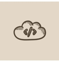 Transferring files cloud apps sketch icon vector