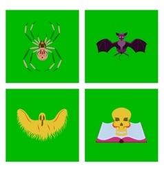 assembly flat halloween spider bat vector image