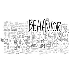 Behavior contracts text word cloud concept vector