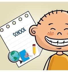 Boy cartoon school student icon vector