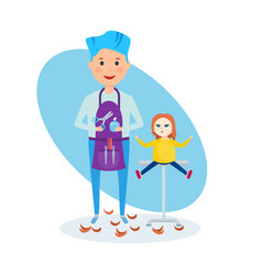 boy in role of hairdresser with scissors in hands vector image