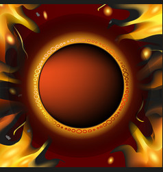 brown template background with fire vector image vector image