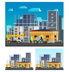 Building Construction Compositions Set vector image vector image