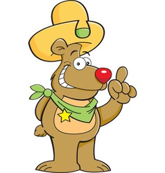 Cartoon teddy bear wearing a cowboy hat vector image