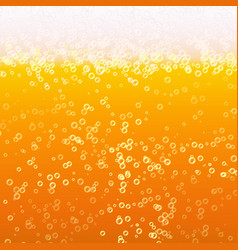 close up light beer with foam and bubbles vector image