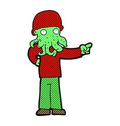 Comic cartoon alien monster man vector