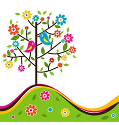 Decorative floral tree vector image vector image