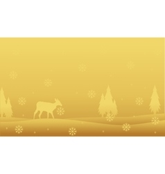 Deer and spruce landscape winter christmas vector