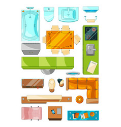 different furniture set for layout of the vector image
