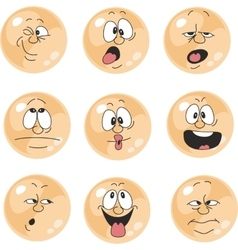 Emotion smiles orange color set 010 vector image vector image