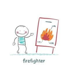 firefighter said the presentation of the fire vector image