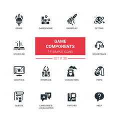 game components - modern line design vector image