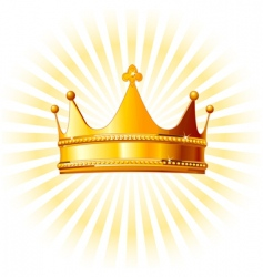 Golden crown on glowing background vector