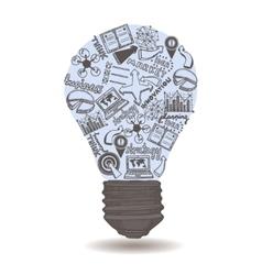 Lightbulb with sketch inside vector