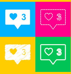 Like and comment sign four styles of icon on four vector
