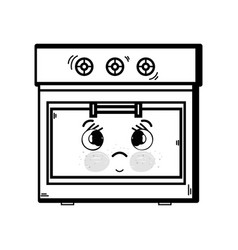 Line kawaii cute tender oven technology vector