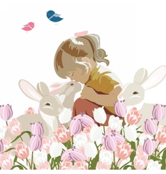 Little girl playing with rabbits vector image vector image