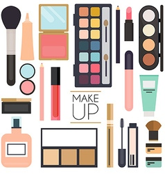 Makeup cosmetics and brushes on white vector image