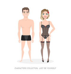 Man and woman in lingerie cartoon style vector