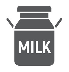Milk can glyph icon farming and agriculture vector
