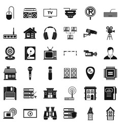 New camera icons set simple style vector