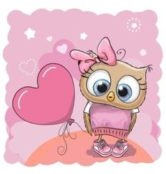 Owl girl with balloon vector image vector image