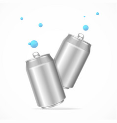 realistic steel cans set vector image vector image