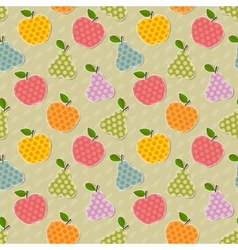 Seamless colorful apple and pear pattern vector image vector image