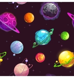 Seamless pattern with fantasy cartoon planets vector