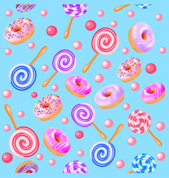 seamless sweet fruit donuts candy vector image vector image