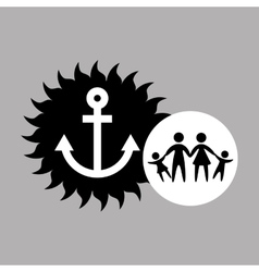 Silhouette family vacation sailor anchor vector