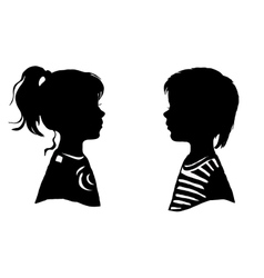 The two silhouette of a boy and girl vector image
