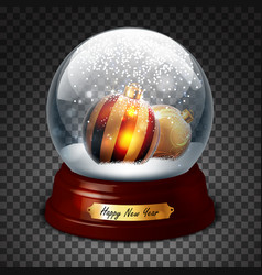 transparent sphere with fir balls and snow highly vector image vector image