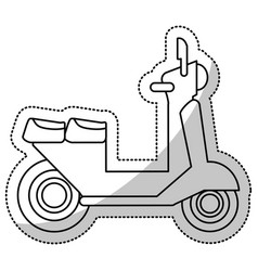 Vespa scooter transport delivery cut line vector