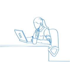 Young hand drawn woman sitting in a chair and work vector