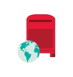Mailbox and earth globe icon vector