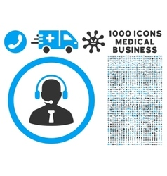 Reception operator icon with 1000 medical business vector