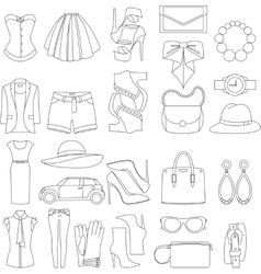 Icons design concept of fashion look vector