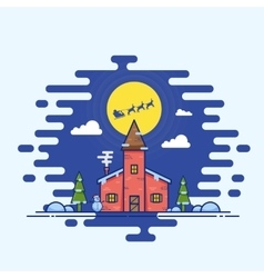 Line Style Christmas House vector image