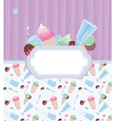Background with frame with ice cream and candy 2 vector image