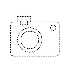 Digital camera sign  black dashed icon on vector