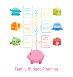 Cartoon monthly expenses family budget planning vector