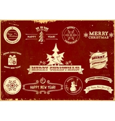Set of Christmas vintage labels vector image