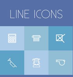 Set of 6 editable education outline icons vector