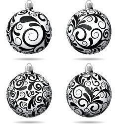 Set of black and white christmas balls vector