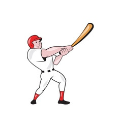 Baseball player swinging bat cartoon vector