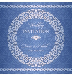 Baroque wedding invitation navy blue vector
