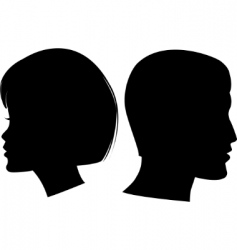 face man and woman vector image