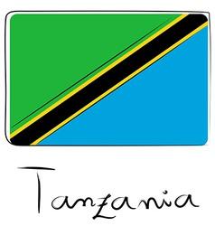 Tanzania flag doodle vector image